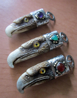 Eagles Eagle pendants Horn, nickel silver, brass, amethyst (2/7)
